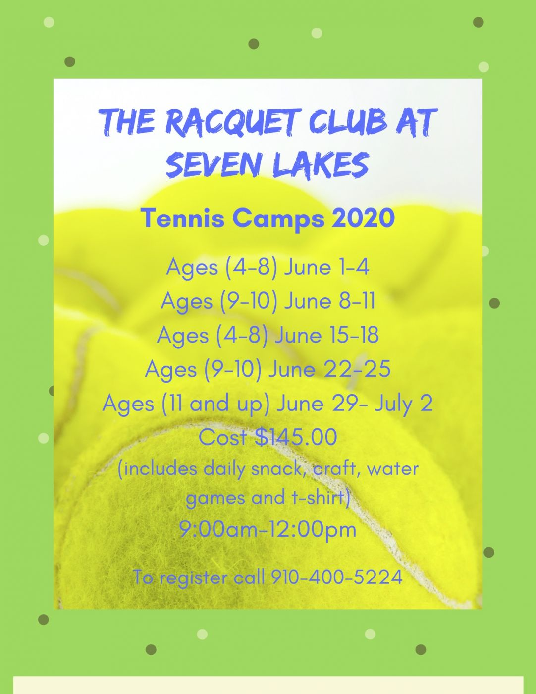 Tennis Summer Camp Moore County NC