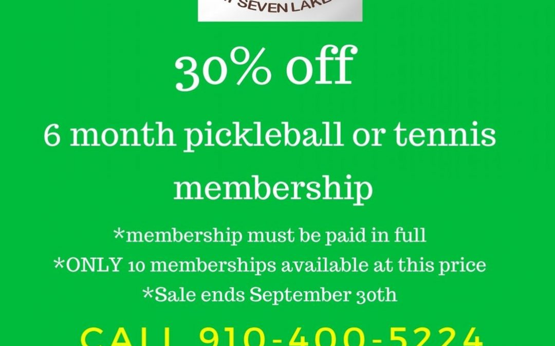 Tennis Seven Lakes 30 percent off