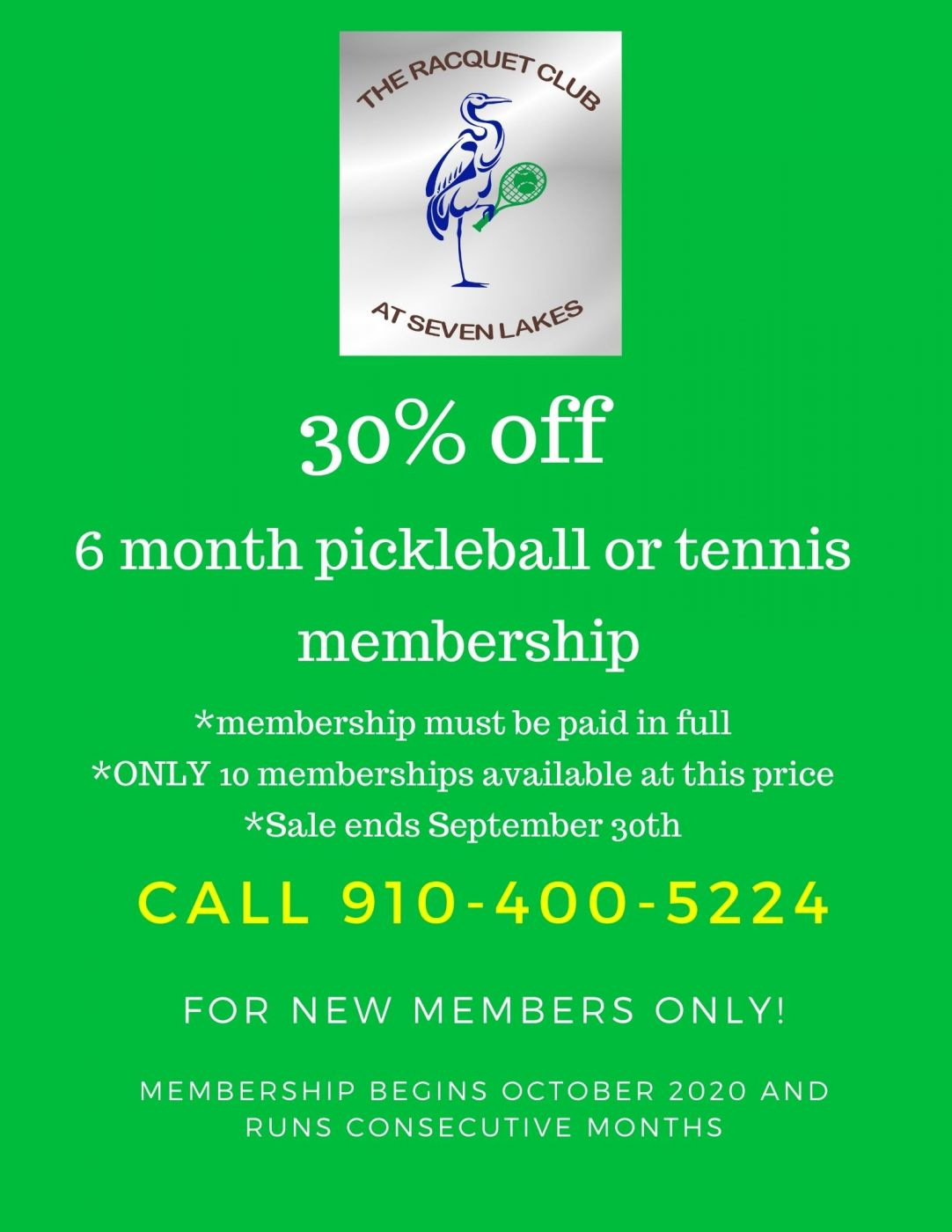 Tennis Seven Lakes 50 percent off