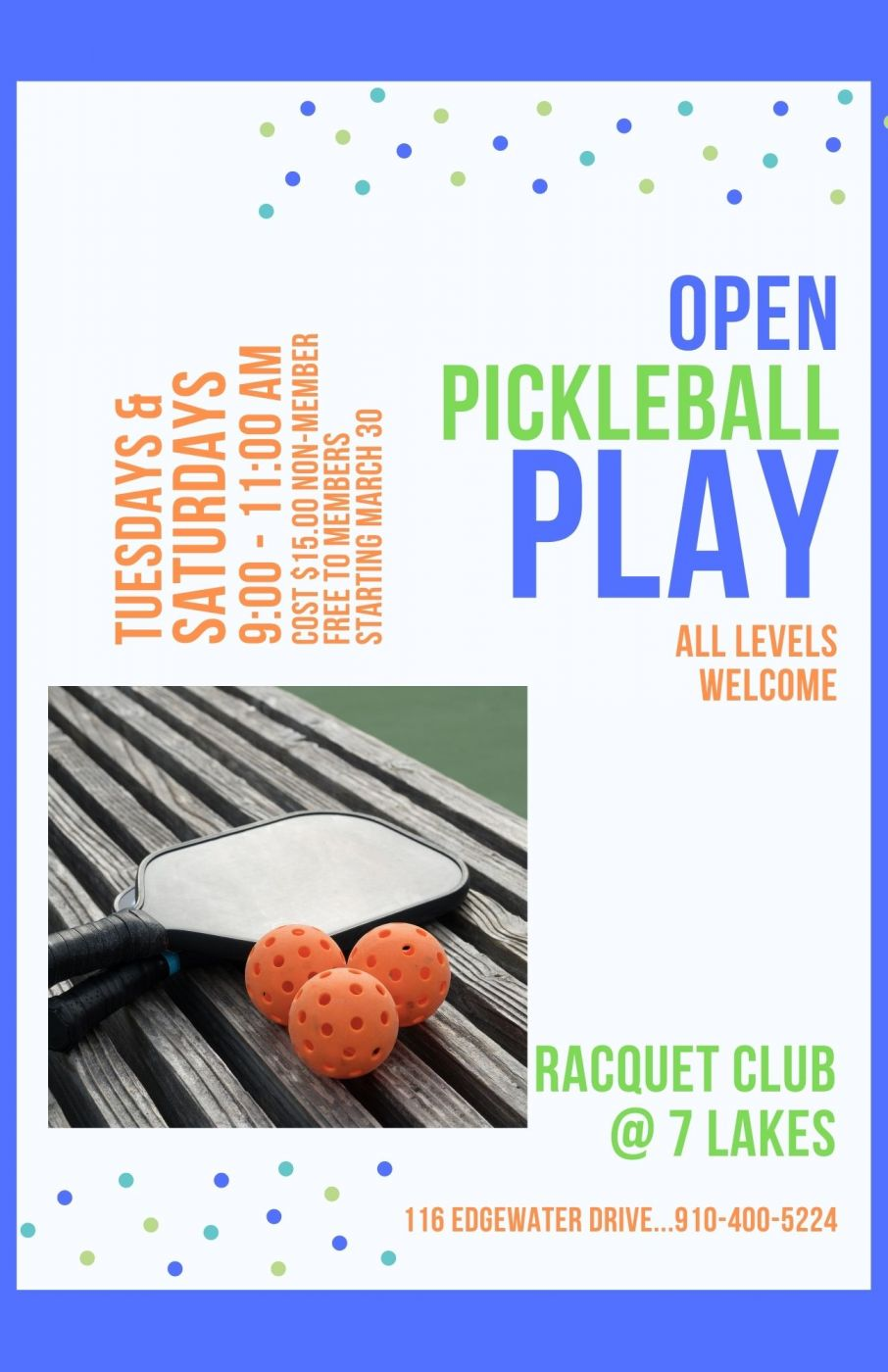 Open Pickle Ball Play
